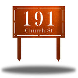 "Copper rectangular-shaped steel yard stake address signage with the texts ""191 Church St"""