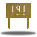 "Gold rectangular-shaped steel yard stake address signage with the texts ""191 Church St"""