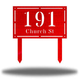 "Red rectangular-shaped steel yard stake address signage with the texts ""191 Church St"""