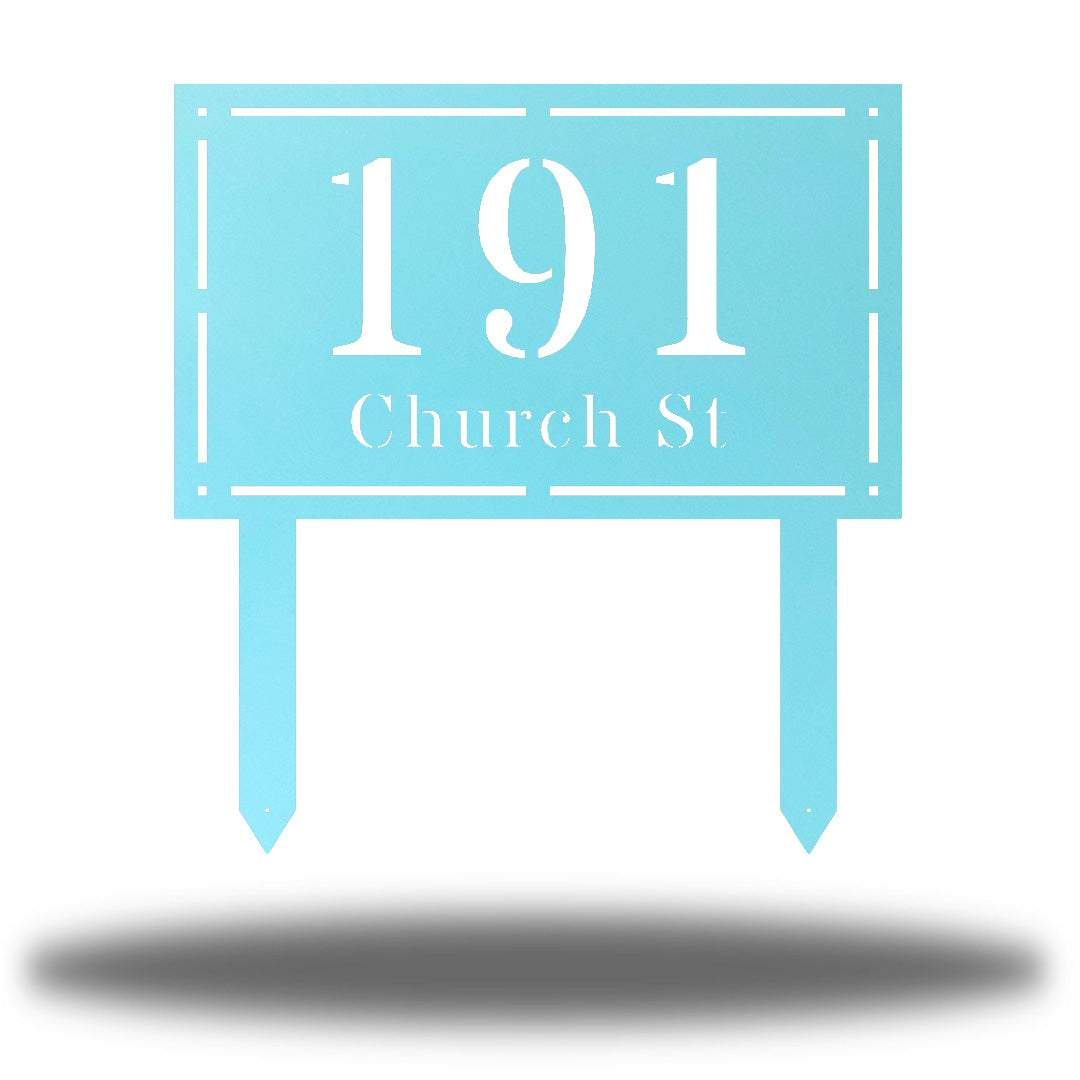 "Light blue rectangular-shaped steel yard stake address signage with the texts ""191 Church St"""