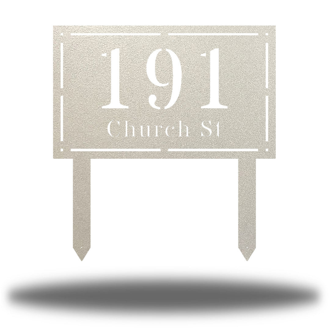 "Silver rectangular-shaped steel yard stake address signage with the texts ""191 Church St"""