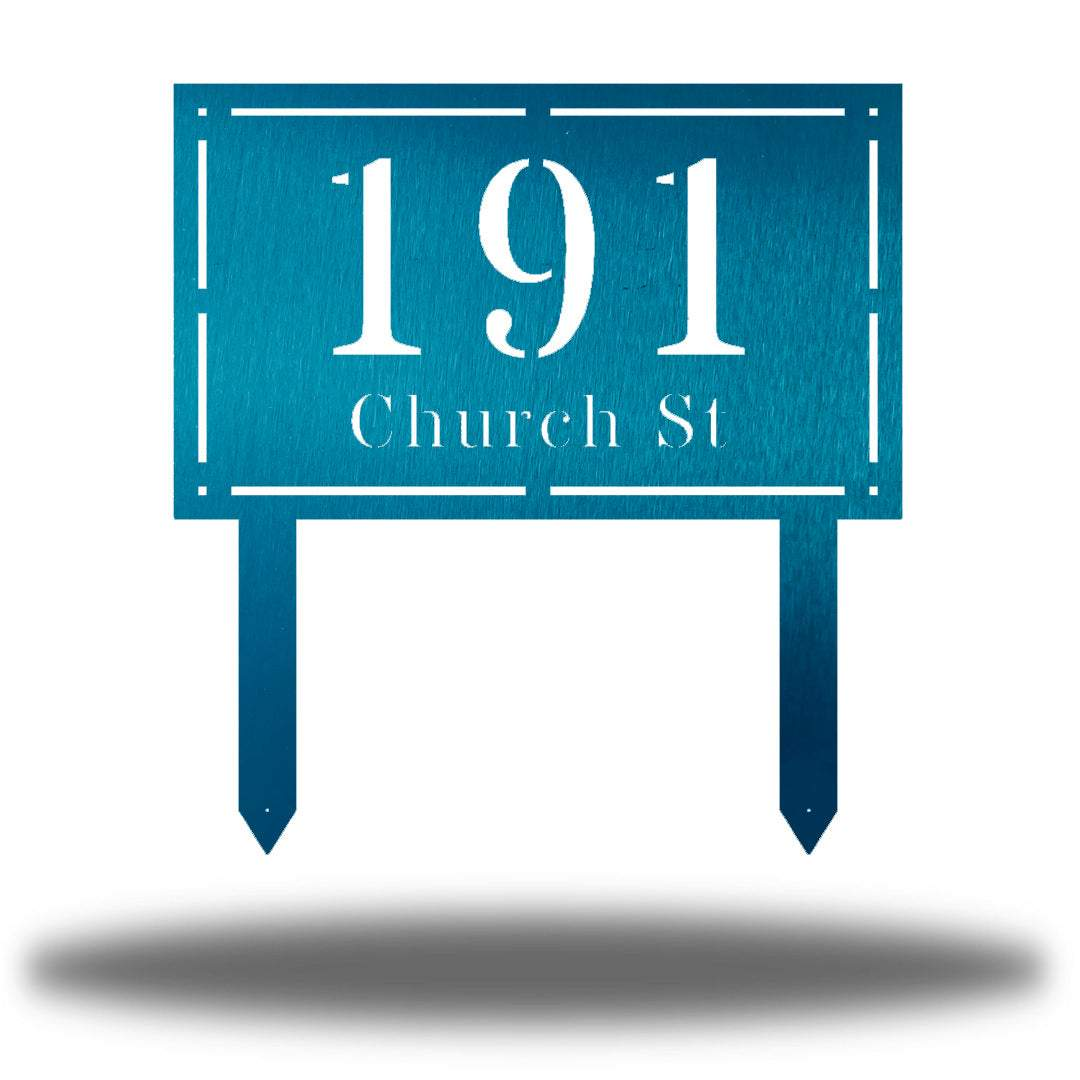 "Teal rectangular-shaped steel yard stake address signage with the texts ""191 Church St"""