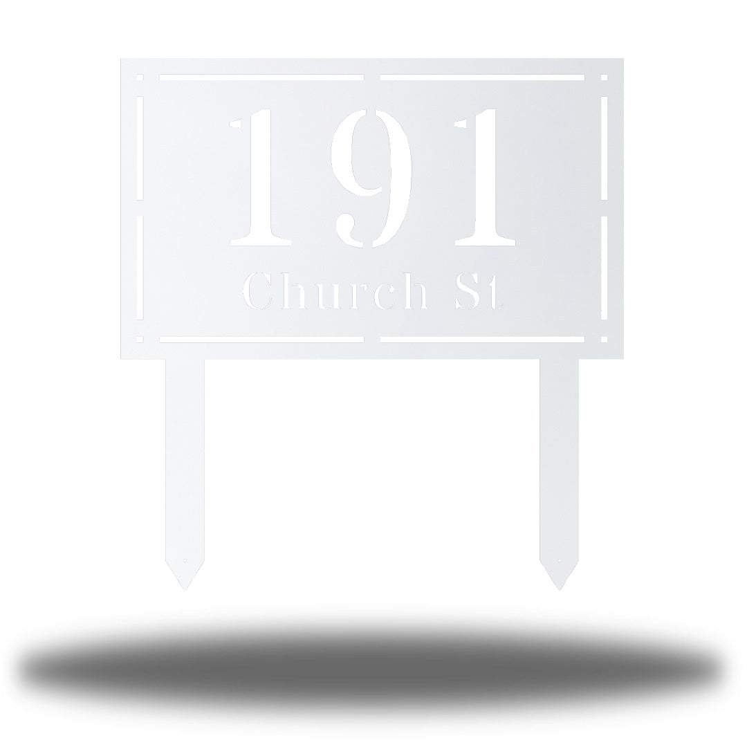 "White rectangular-shaped steel yard stake address signage with the texts ""191 Church St"""