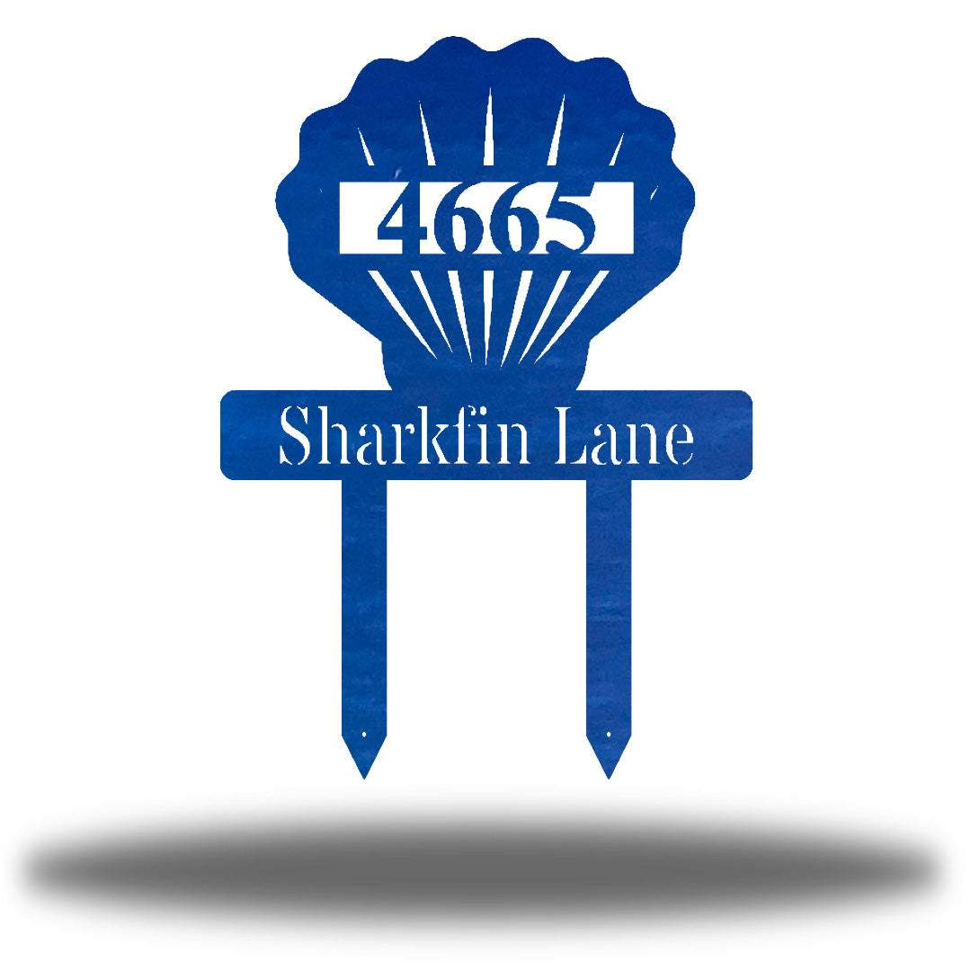 "Blue scallop-shaped yard stake address sign with the texts ""4665 Sharkfin Lane"""