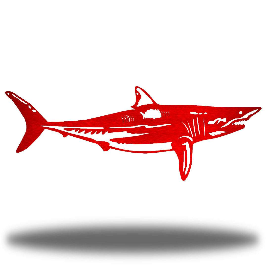 Red steel shark wall decoration