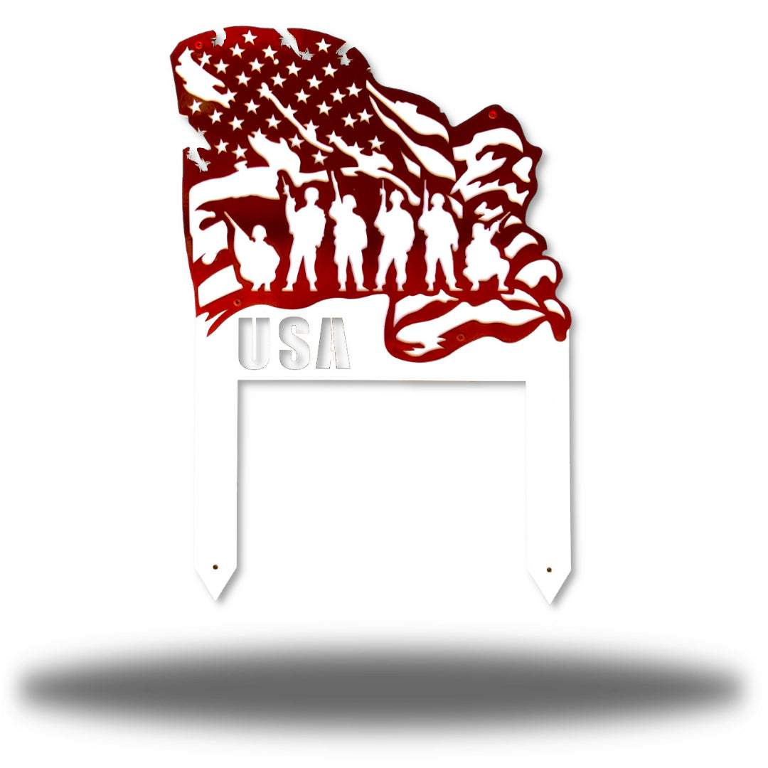 Red steel US flag yard stake featuring 6 soldiers on it
