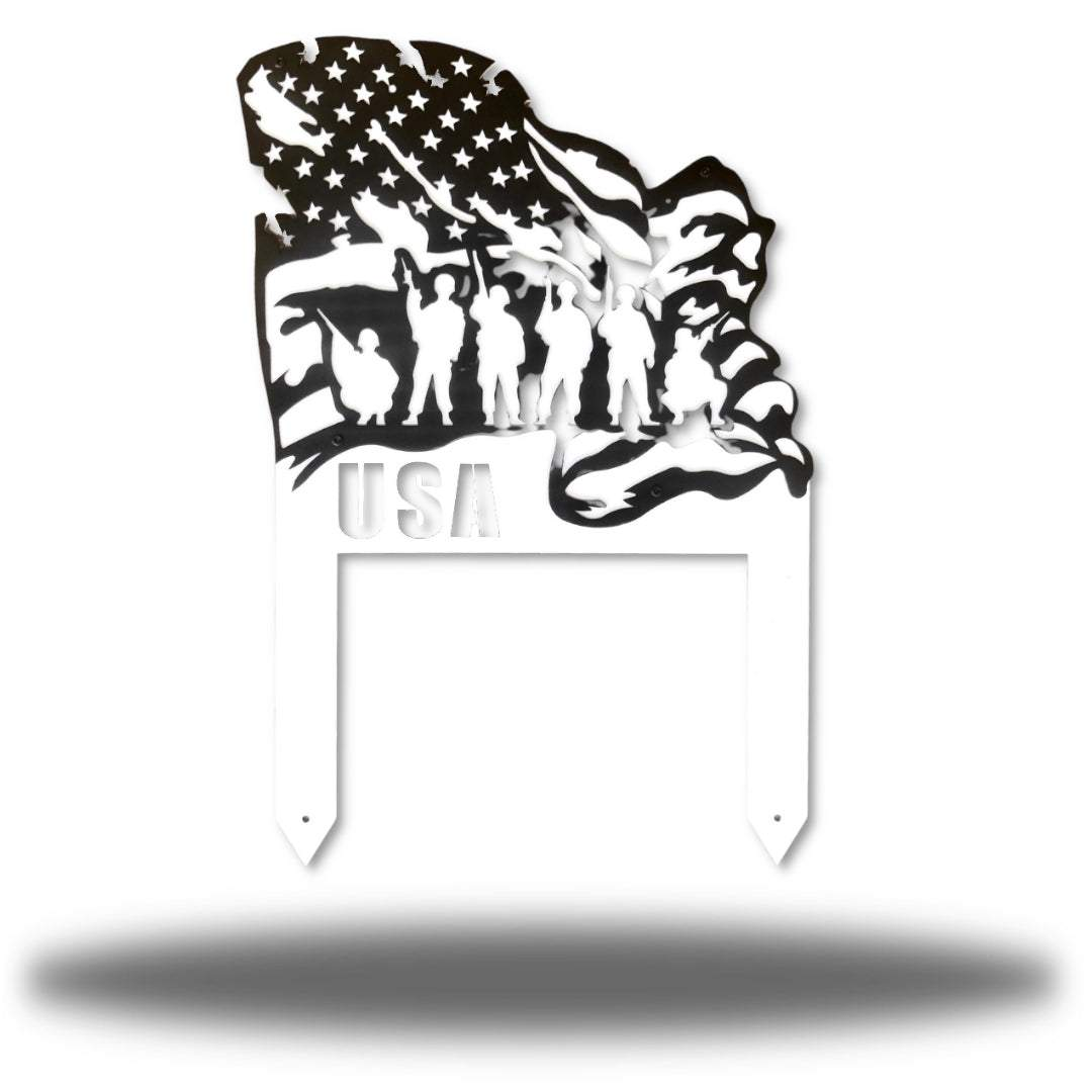 Black steel US flag yard stake featuring 6 soldiers on it