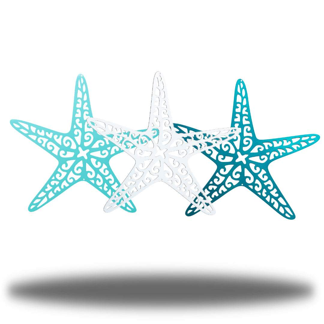3 steel starfish wall decoration, colors light blue, white and teal
