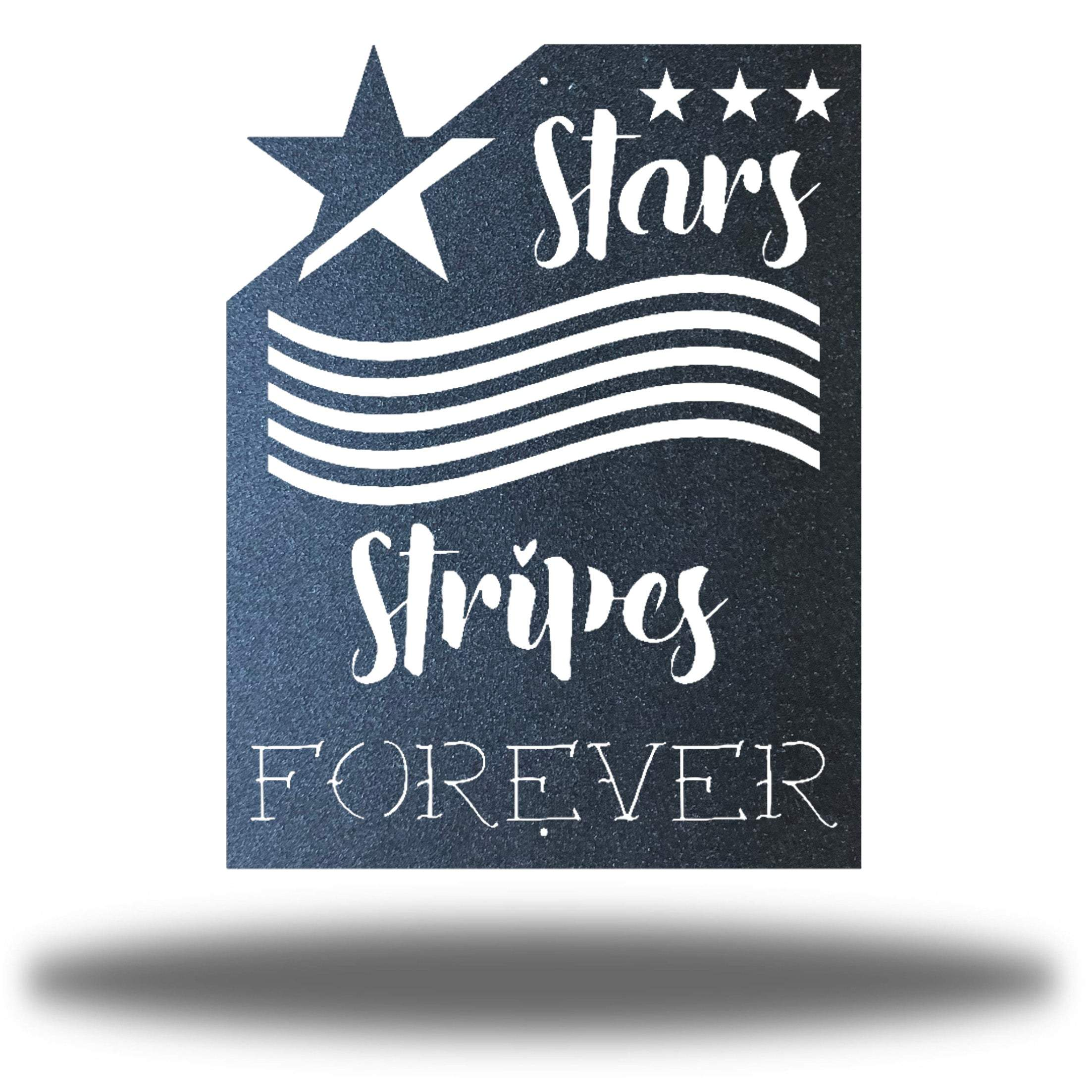 "Black wall art decoration that features starts and stripes with the texts ""Stars, Stripes FOREVER"""