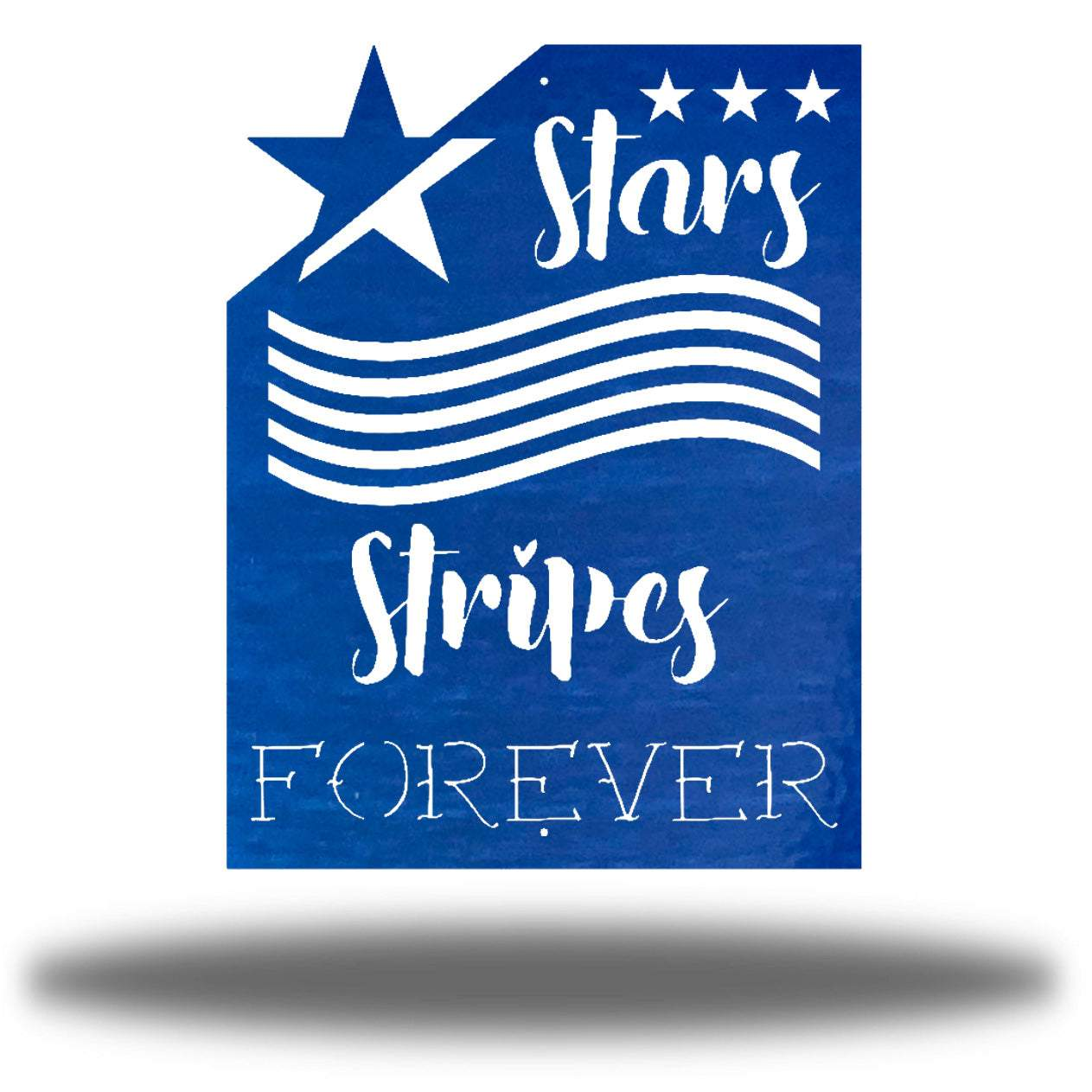 "Blue wall art decoration that features starts and stripes with the texts ""Stars, Stripes FOREVER"""