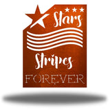 "Copper wall art decoration that features starts and stripes with the texts ""Stars, Stripes FOREVER"""