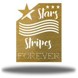 "Gold wall art decoration that features starts and stripes with the texts ""Stars, Stripes FOREVER"""