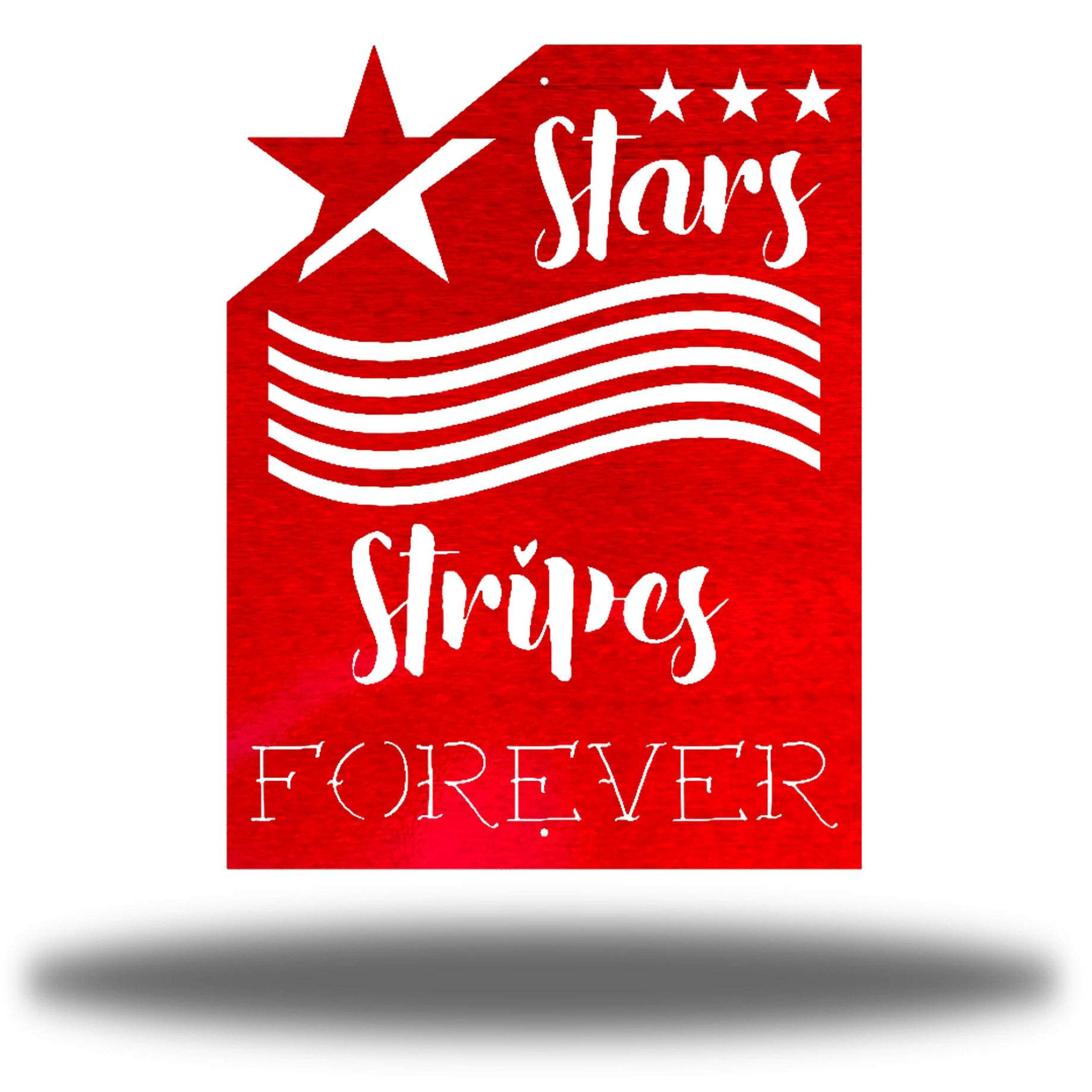 "Red wall art decoration that features starts and stripes with the texts ""Stars, Stripes FOREVER"""