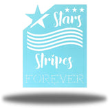 "Light blue wall art decoration that features starts and stripes with the texts ""Stars, Stripes FOREVER"""