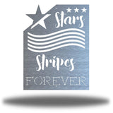 "Silver wall art decoration that features starts and stripes with the texts ""Stars, Stripes FOREVER"""