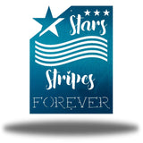 "Teal wall art decoration that features starts and stripes with the texts ""Stars, Stripes FOREVER"""