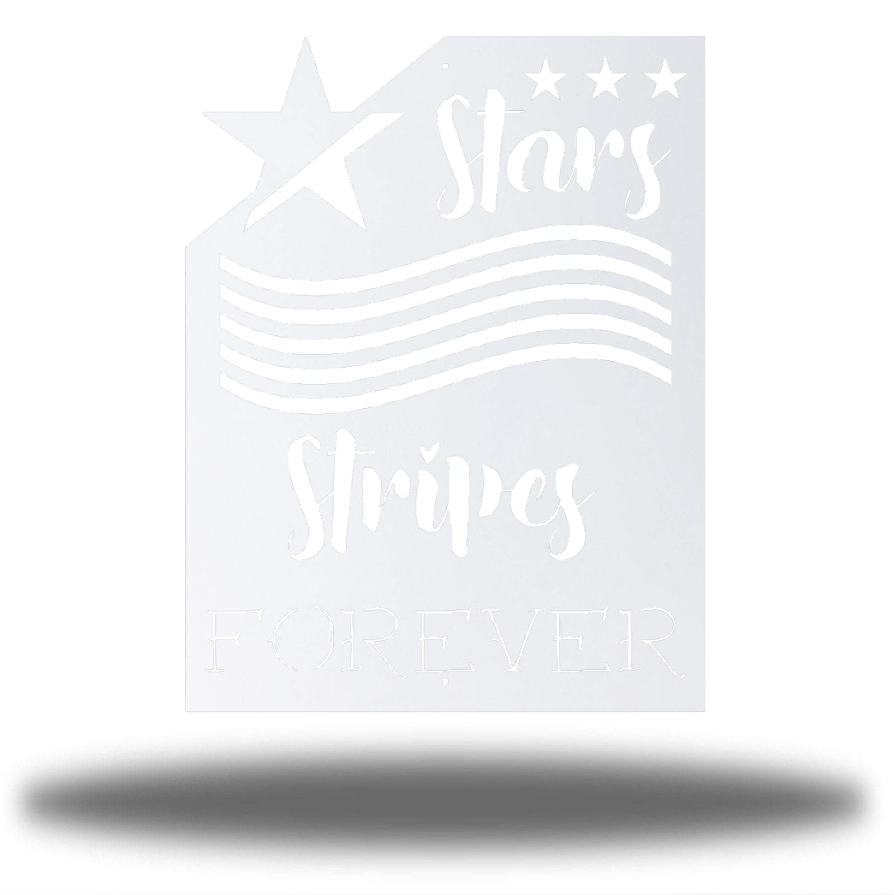 "White wall art decoration that features starts and stripes with the texts ""Stars, Stripes FOREVER"""