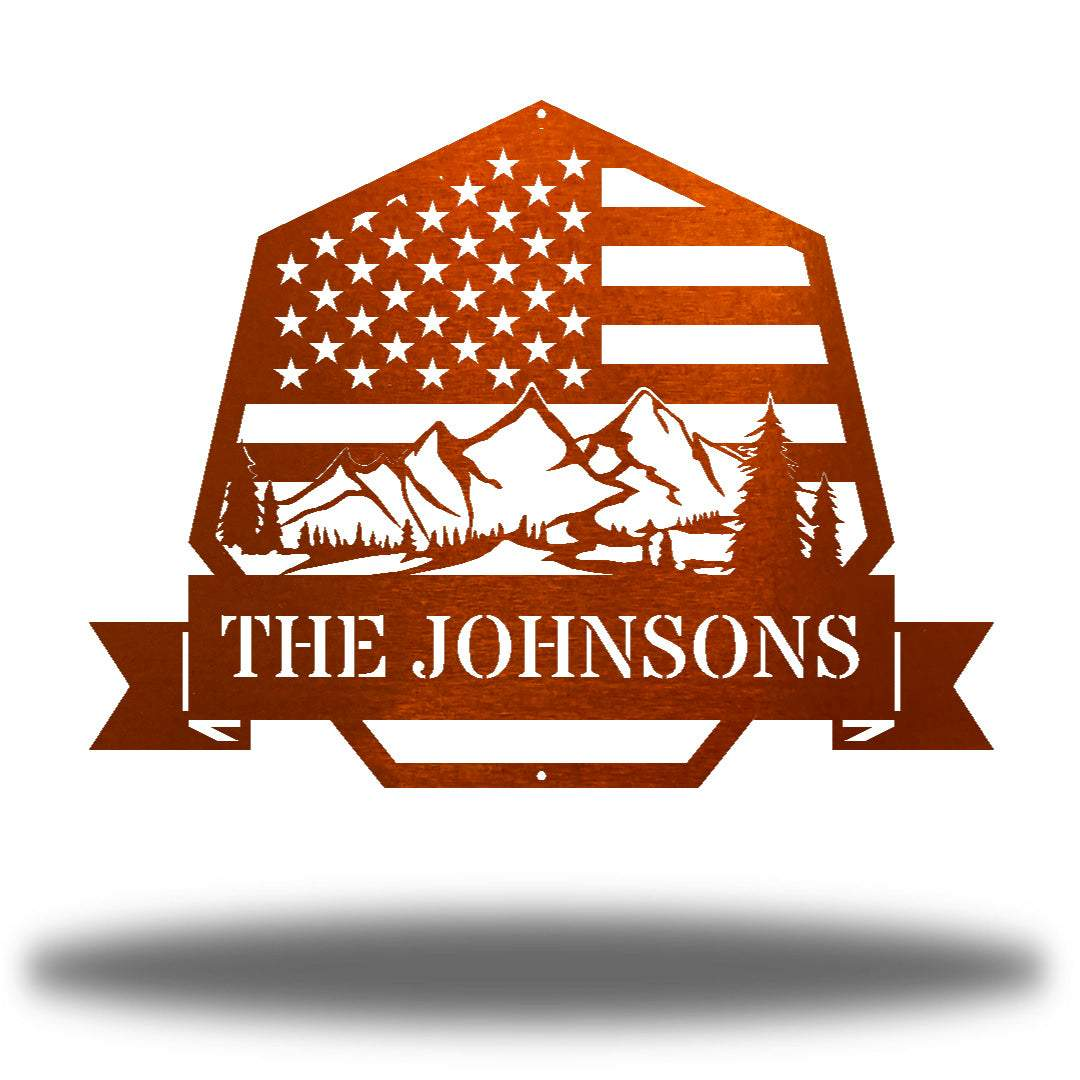 "Copper heptagonal-shaped US flag wall decor featuring outdoor scenery and the texts ""THE JOHNSONS"""