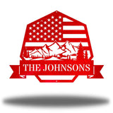 "Red heptagonal-shaped US flag wall decor featuring outdoor scenery and the texts ""THE JOHNSONS"""