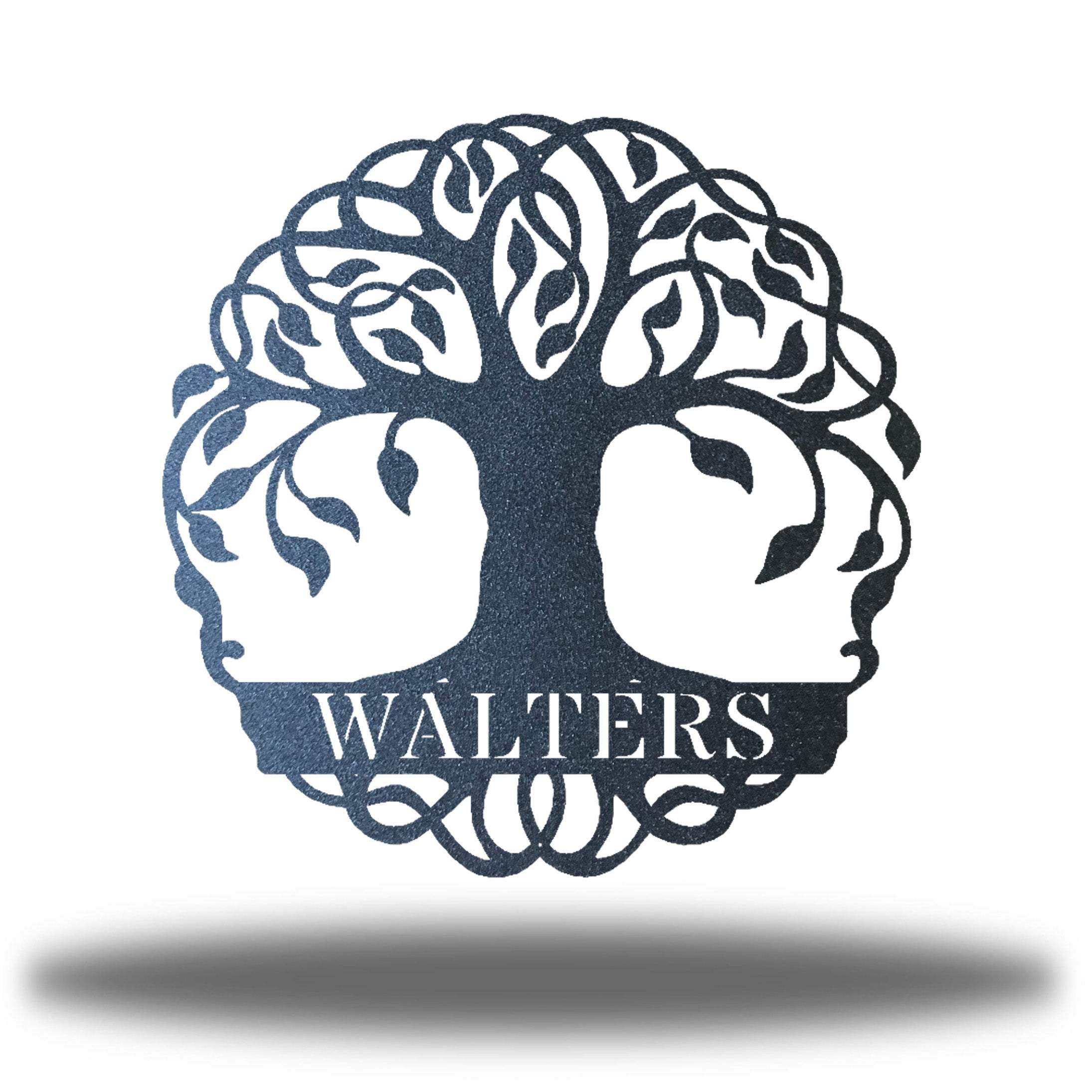 "Black tree monogram with the name ""WALTERS"" on it"