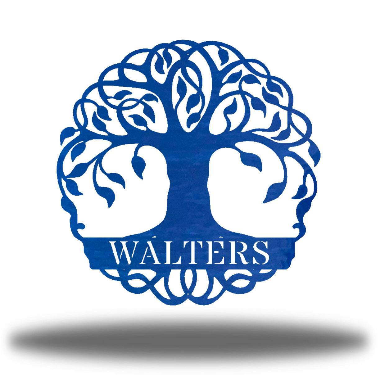 "Blue tree monogram with the name ""WALTERS"" on it"