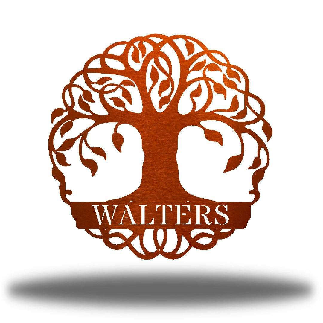 "Copper tree monogram with the name ""WALTERS"" on it"