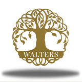 "Gold tree monogram with the name ""WALTERS"" on it"