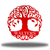 "Red tree monogram with the name ""WALTERS"" on it"