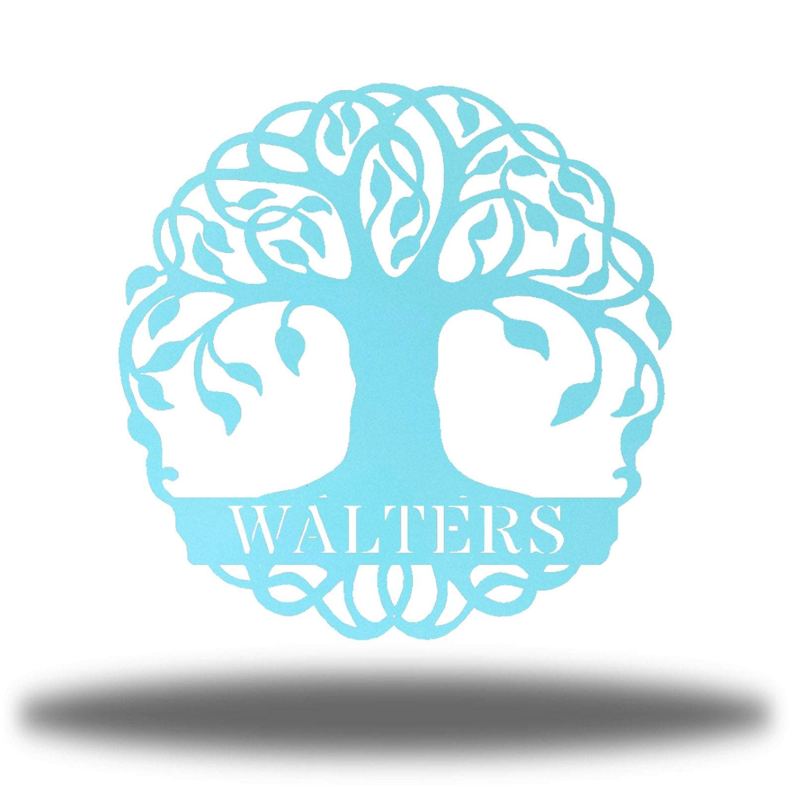 "Light blue tree monogram with the name ""WALTERS"" on it"