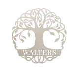 "Silver tree monogram with the name ""WALTERS"" on it"