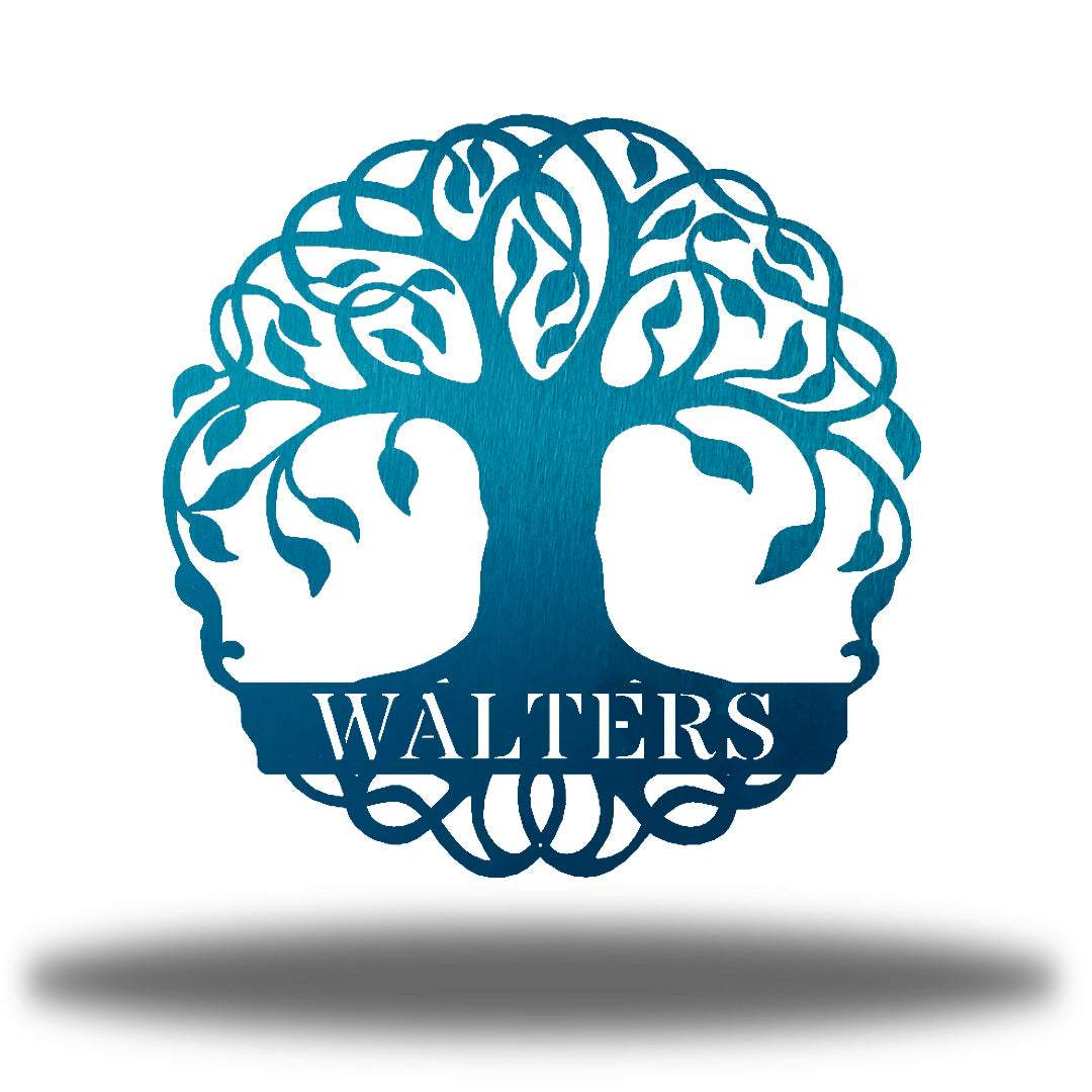 "Teal tree monogram with the name ""WALTERS"" on it"