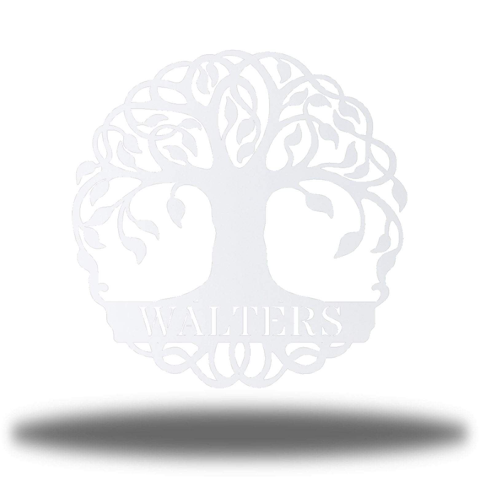 "White tree monogram with the name ""WALTERS"" on it"