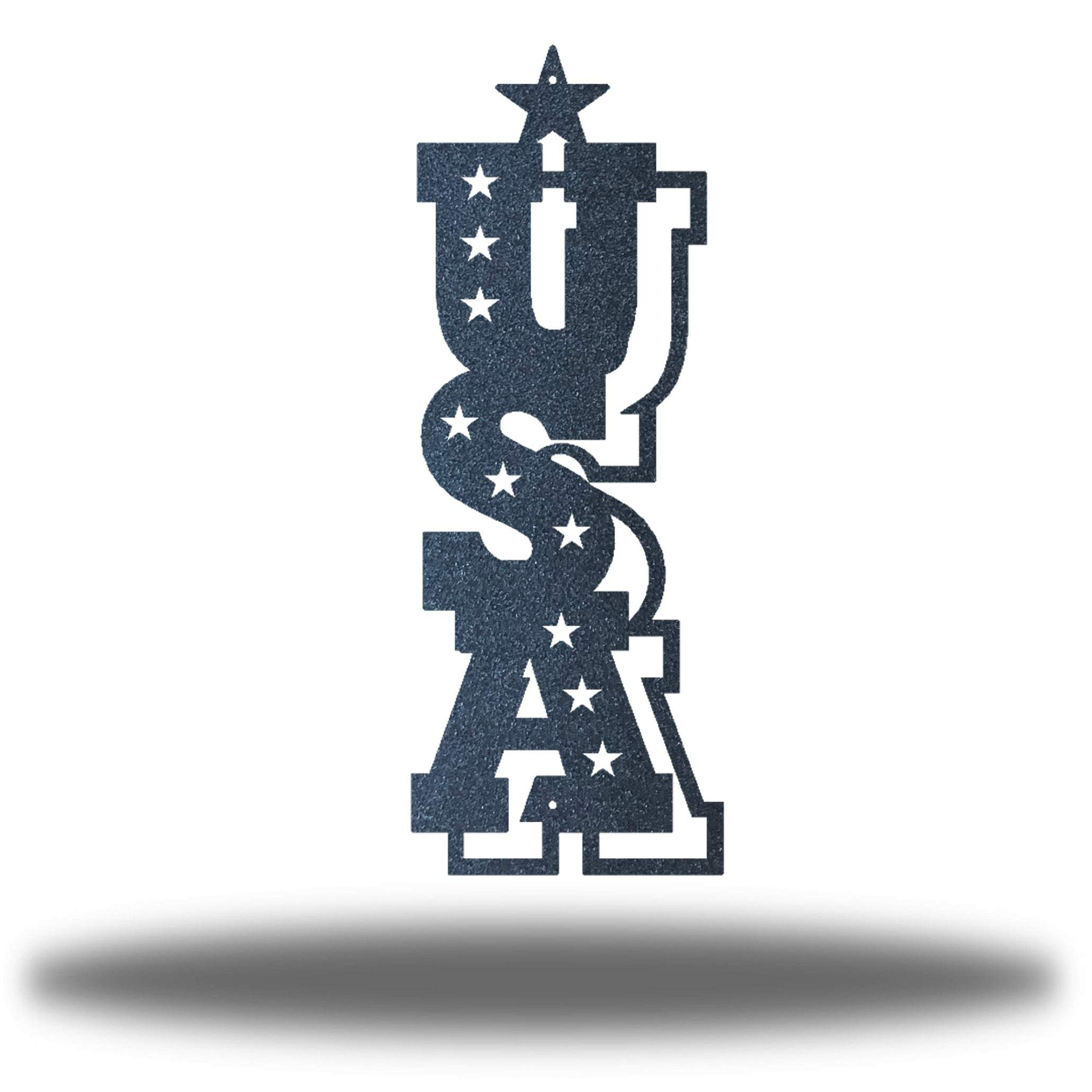 "Black typographic wall decoration that says ""USA"" vertically"