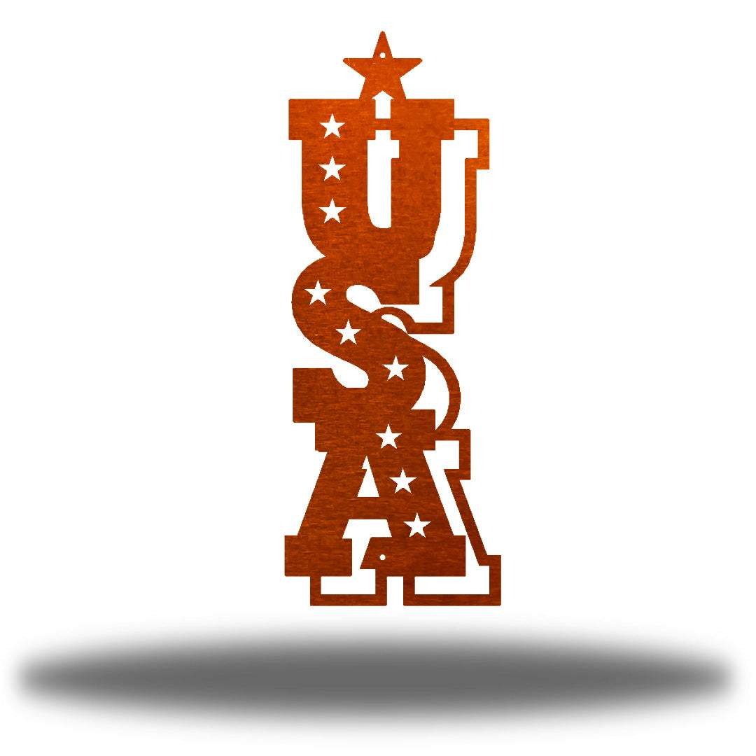"Copper typographic wall decoration that says ""USA"" vertically"