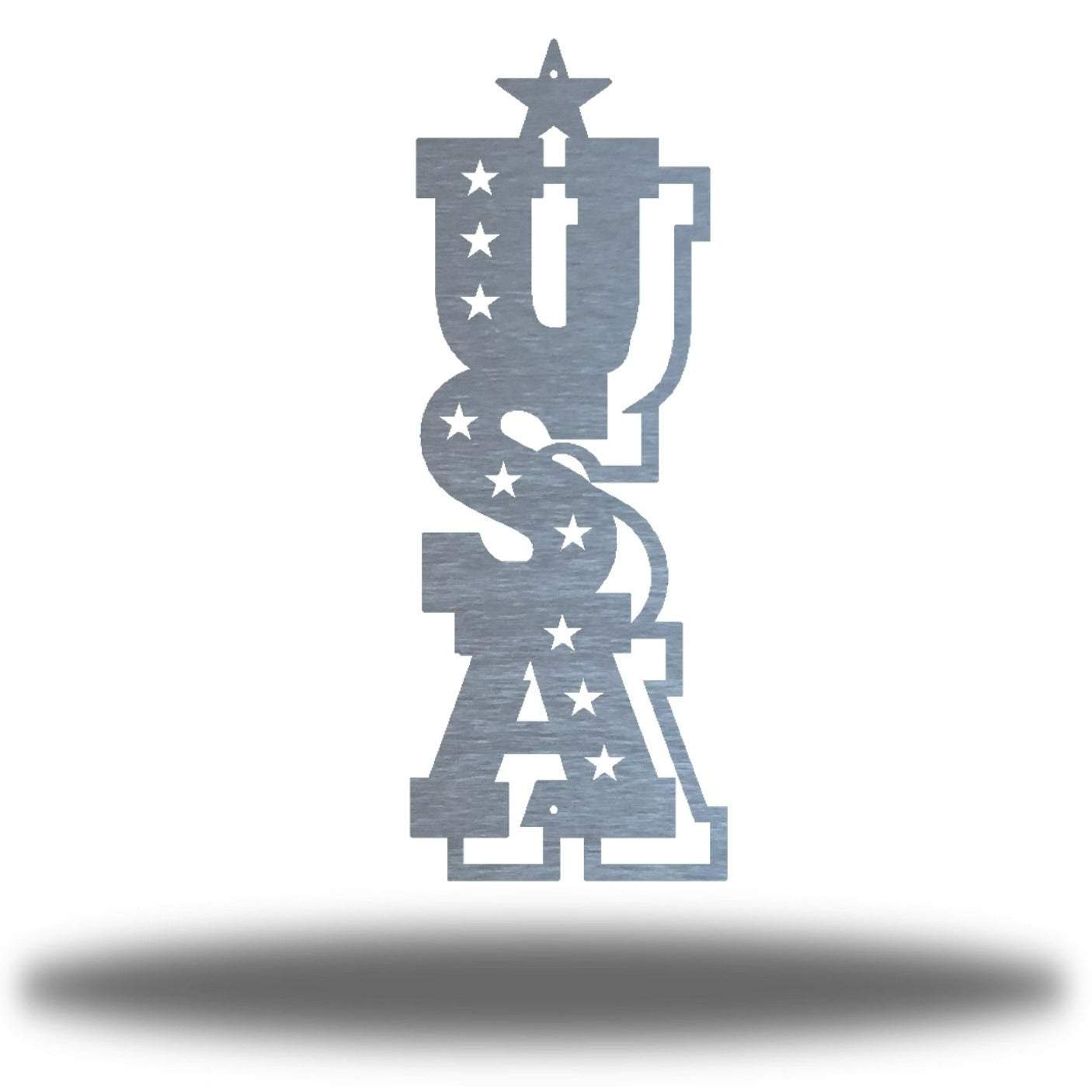 "Silver typographic wall decoration that says ""USA"" vertically"