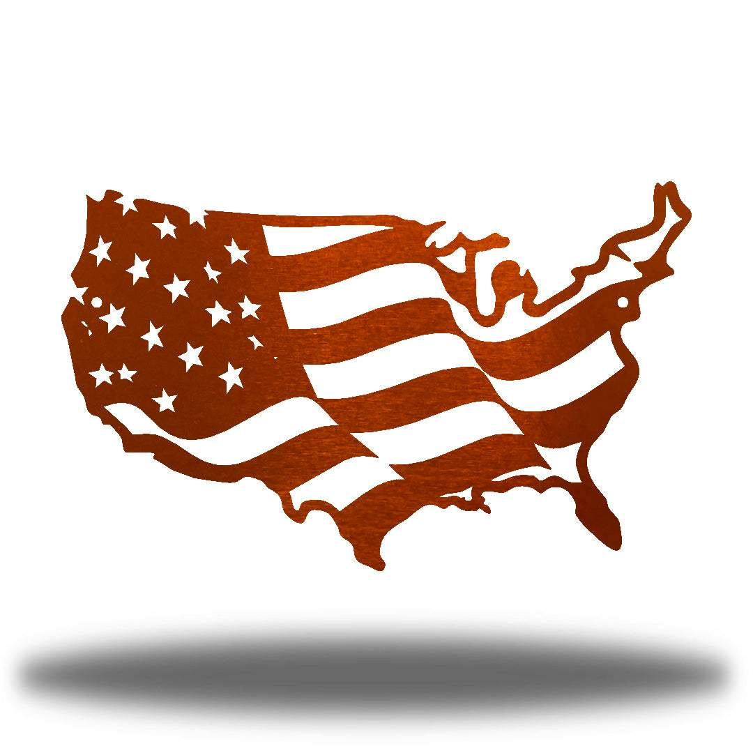 Copper USA-shaped US flag wall decoration