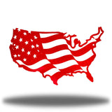 Red USA-shaped US flag wall decoration