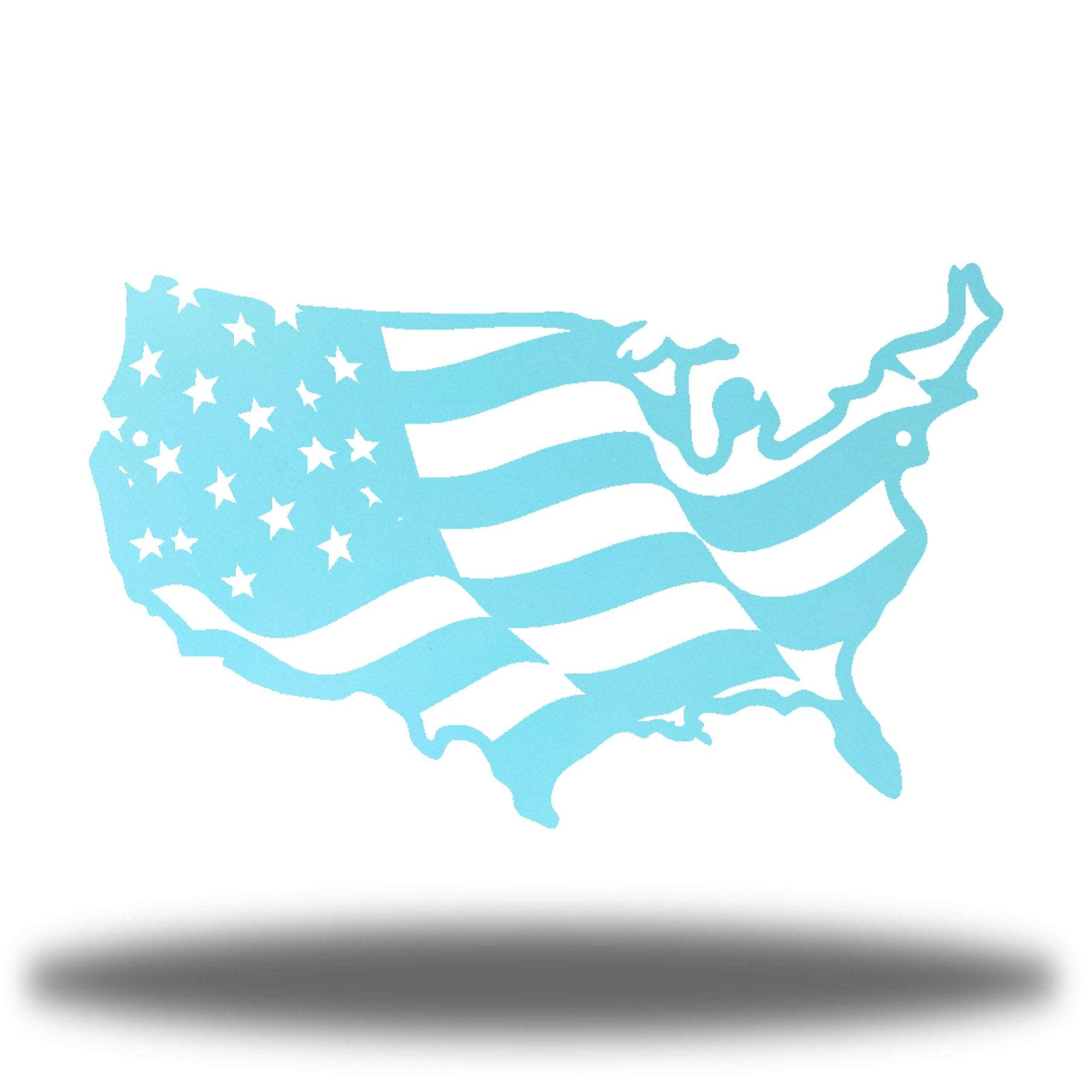 Light blue USA-shaped US flag wall decoration