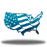 Teal USA-shaped US flag wall decoration