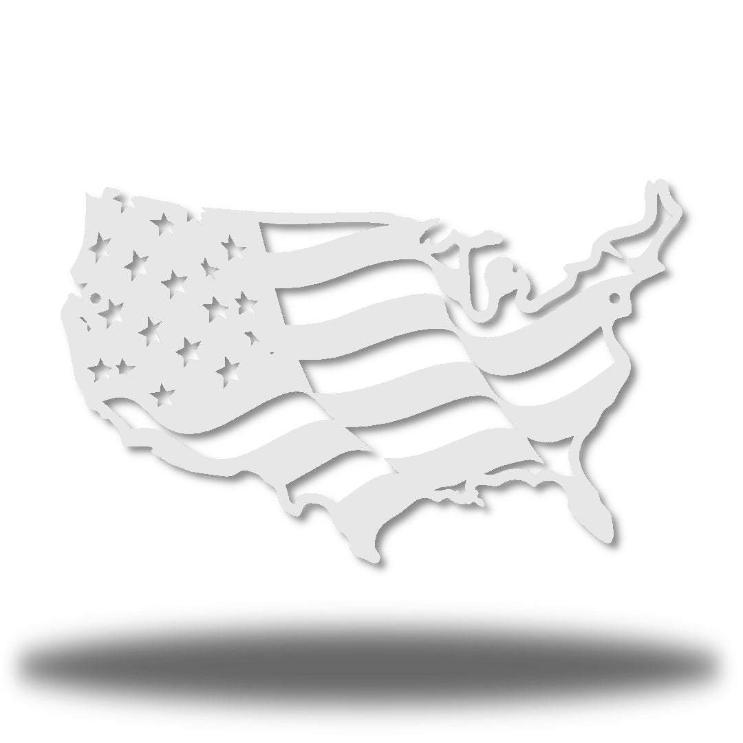 White USA-shaped US flag wall decoration