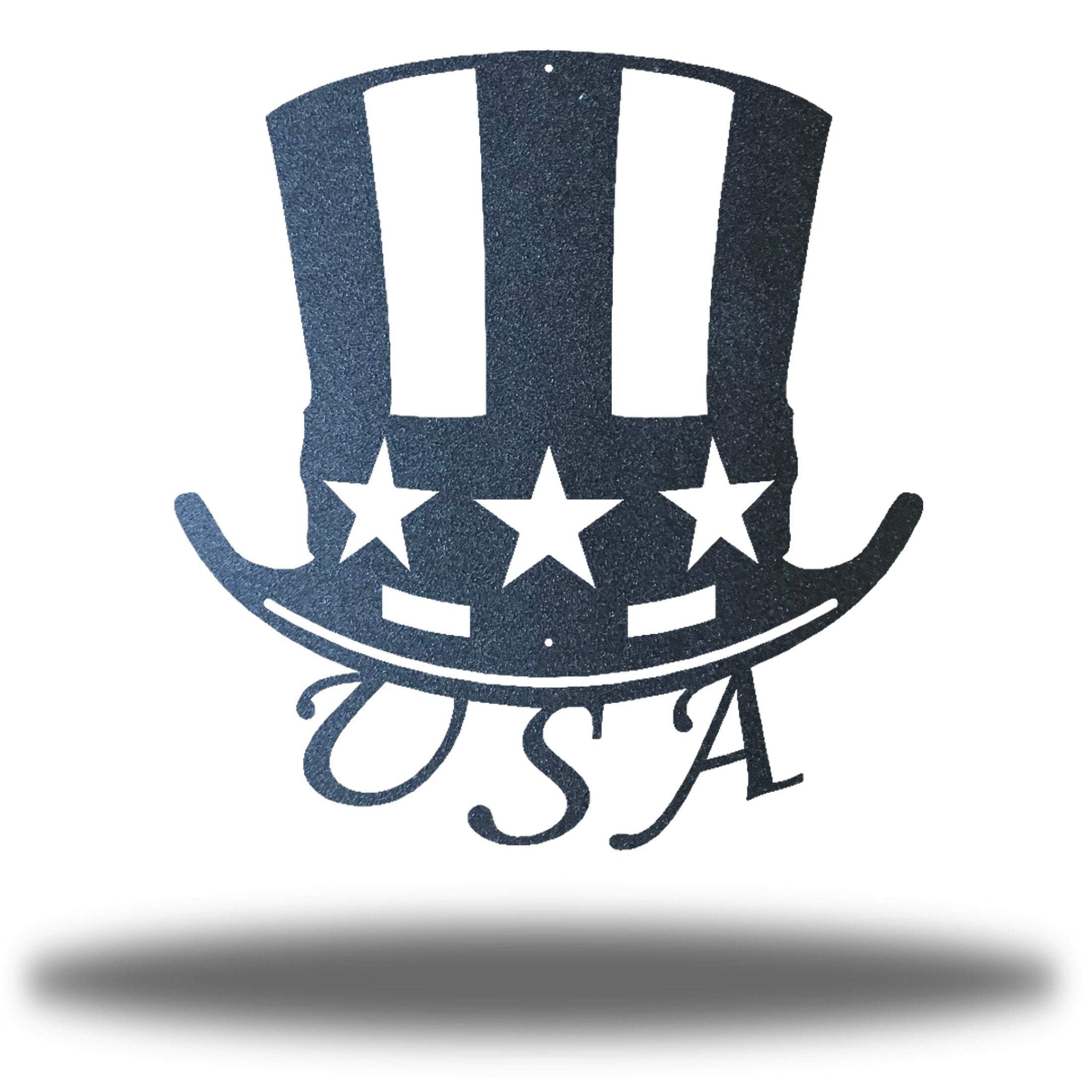 "Black uncle sam's hat-shaped wall decoration with ""USA"" writing under it"
