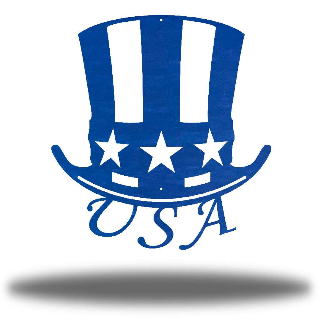 "Blue uncle sam's hat-shaped wall decoration with ""USA"" writing under it"