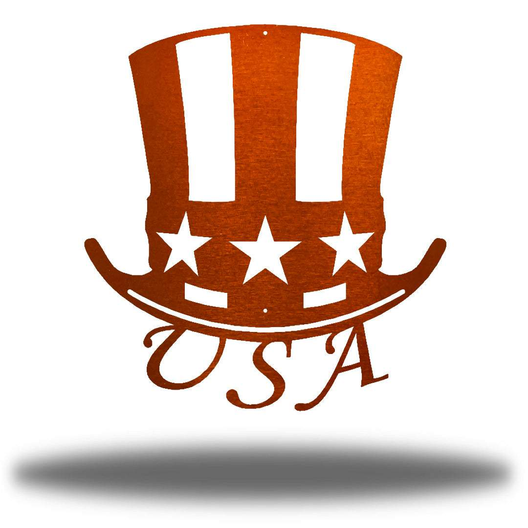 "Copper uncle sam's hat-shaped wall decoration with ""USA"" writing under it"