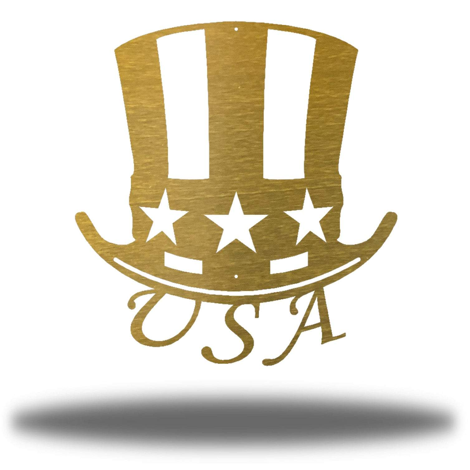 "Gold uncle sam's hat-shaped wall decoration with ""USA"" writing under it"