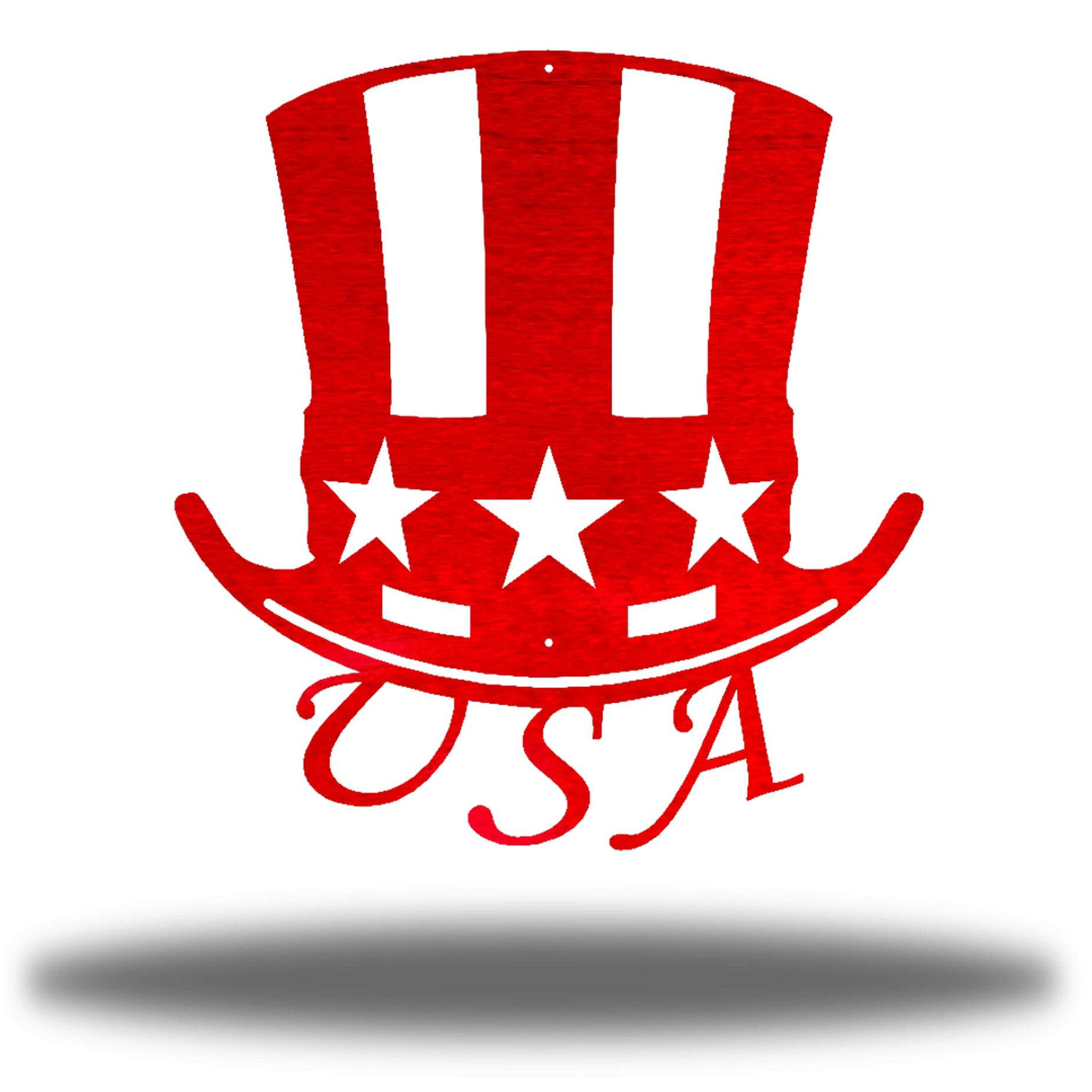 "Red uncle sam's hat-shaped wall decoration with ""USA"" writing under it"