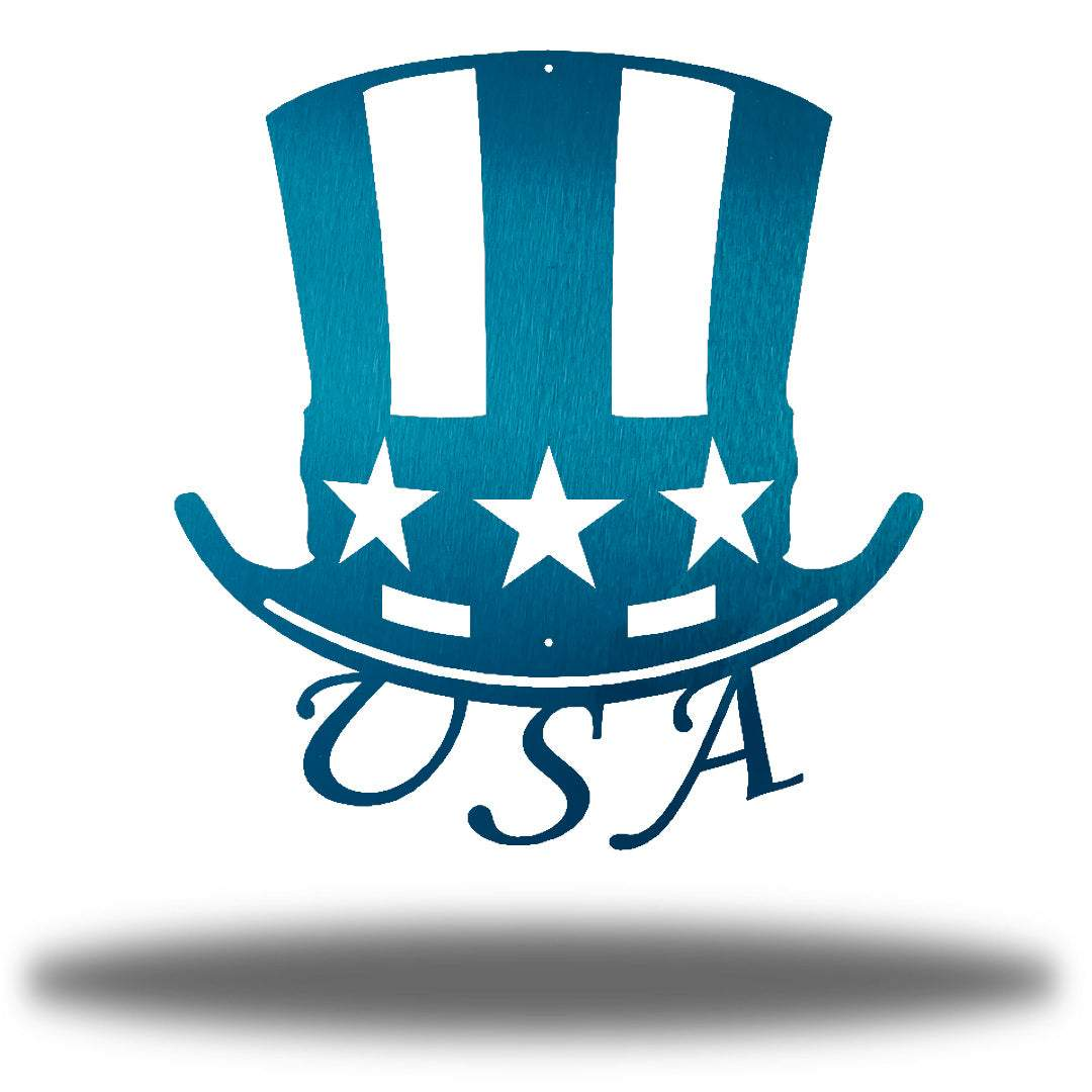 "Teal uncle sam's hat-shaped wall decoration with ""USA"" writing under it"