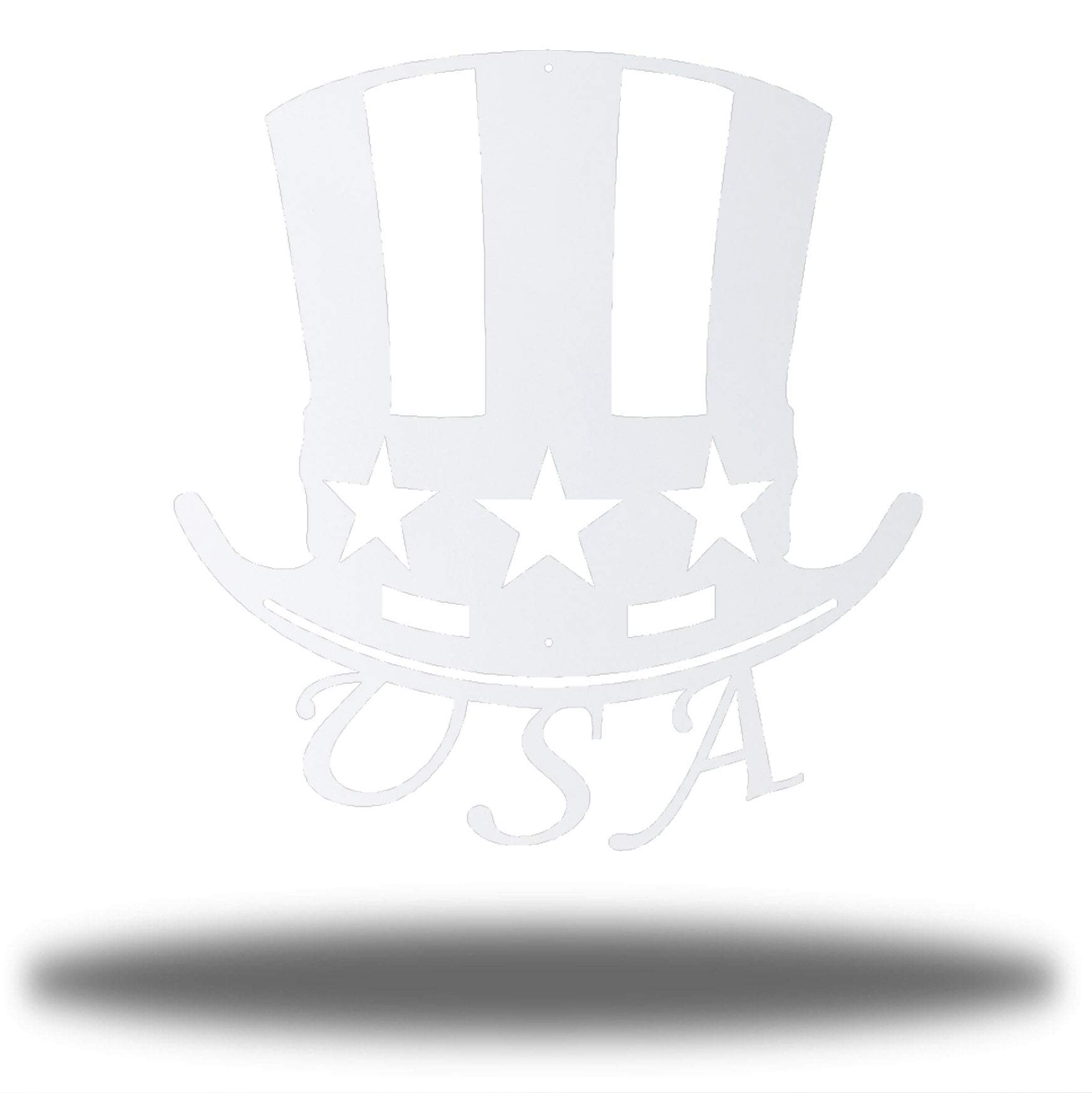 "White uncle sam's hat-shaped wall decoration with ""USA"" writing under it"