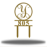 Vine Monogram Address Sign - Go Riverside Designs