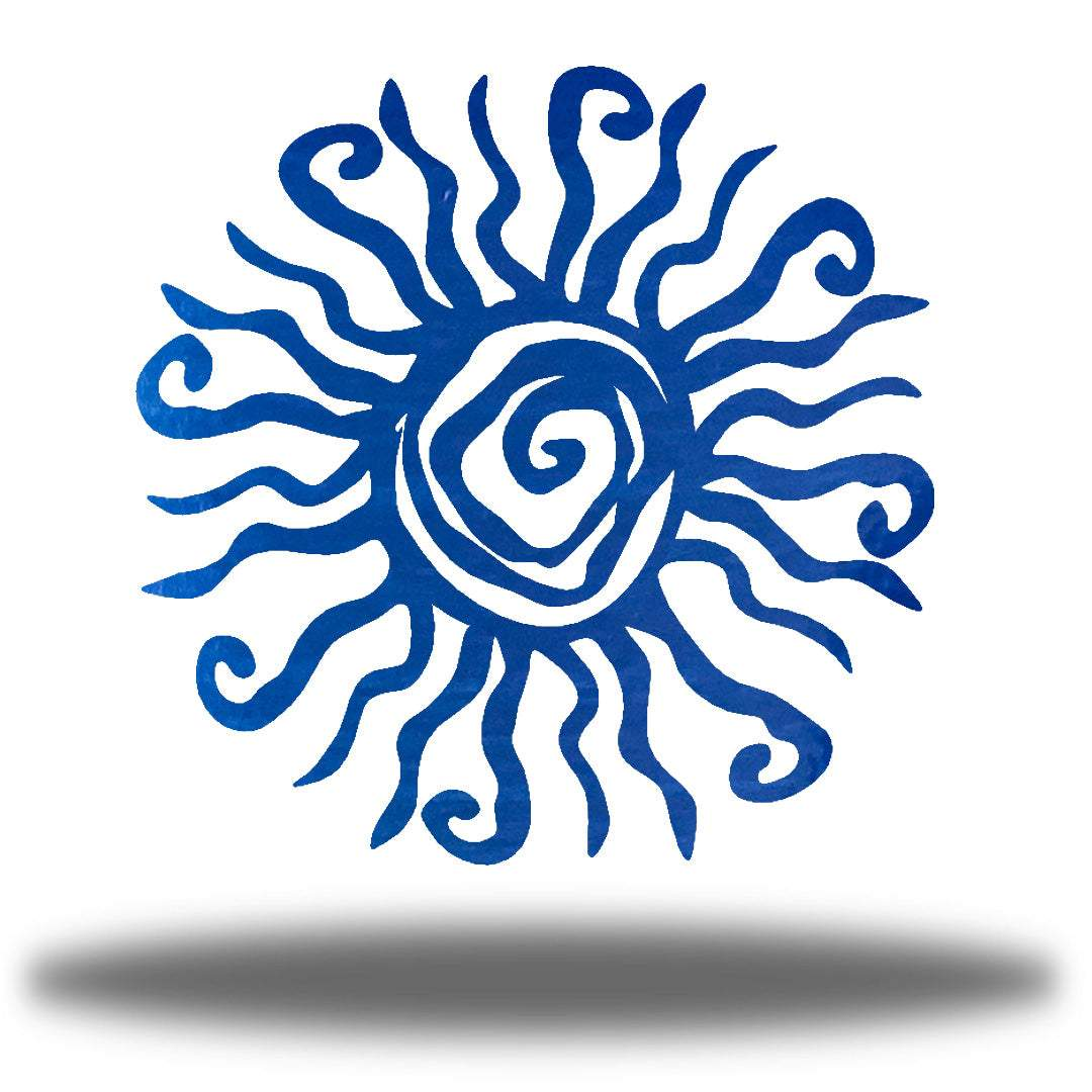 Blue wall art decoration featuring a sun design