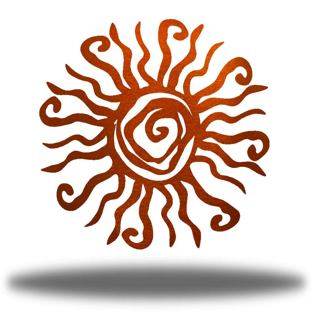 Copper wall art decoration featuring a sun design